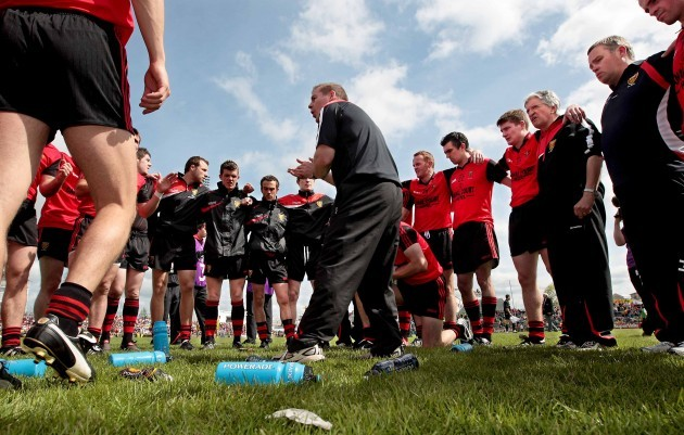 James McCartan talks to his team
