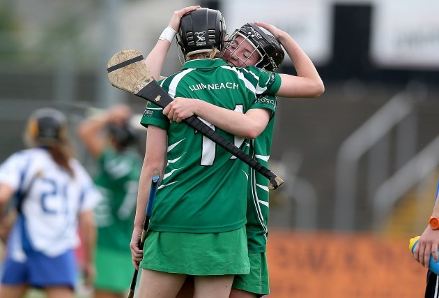 Niamh Mulcahy and Caoimhe Costello celebrate