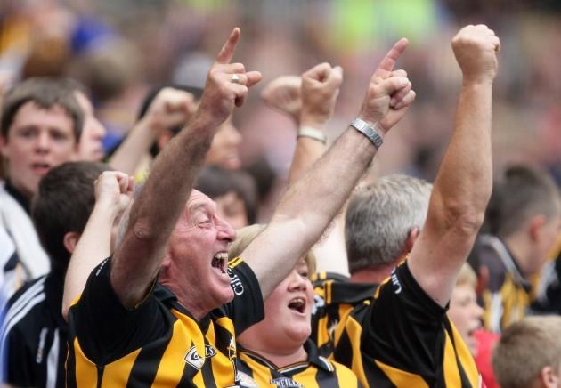 Kilkenny supporters celebrate a goal