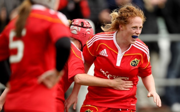Fiona Hayes celebrates her try 17/9/2011