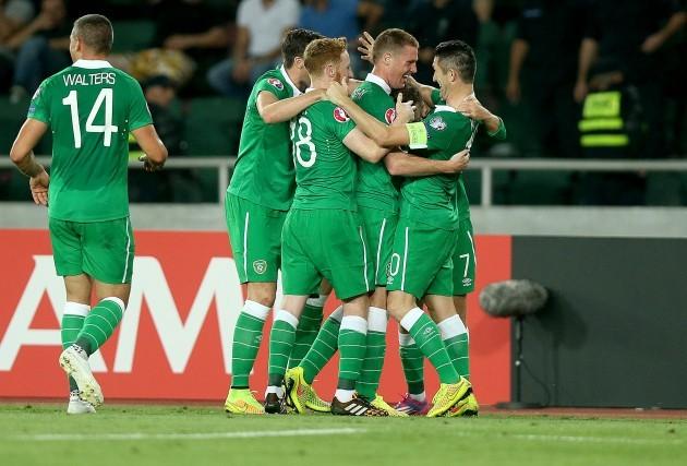 Aiden McGeady celebrates scoring the first goal of the game