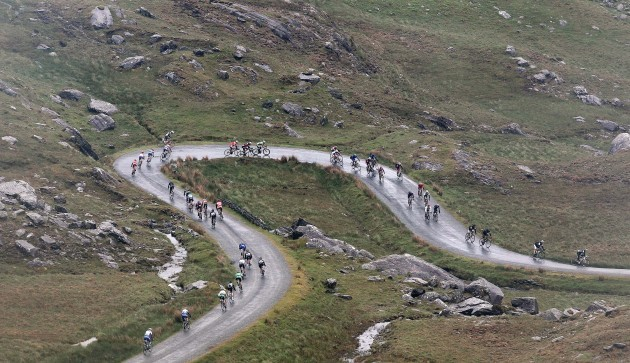 Riders descend off the Healy Pass