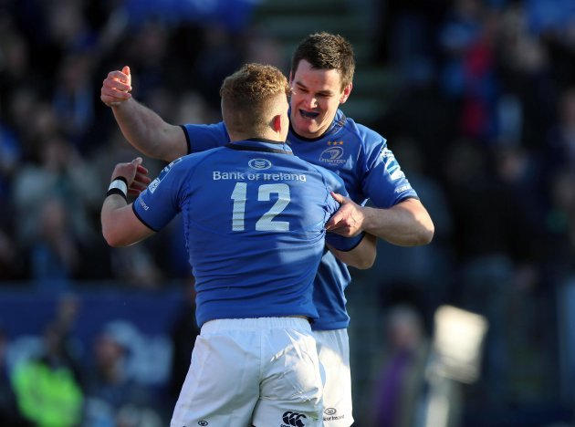Ian Madigan celebrates his try with Johnny Sexton 17/5/2013