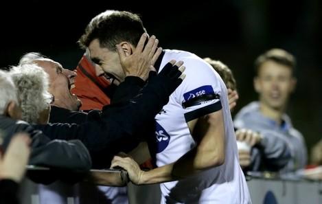 Brian Gatland celebrates scoring his sides fifth goal