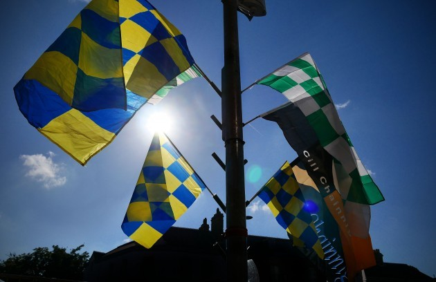 General view of flags outside the ground
