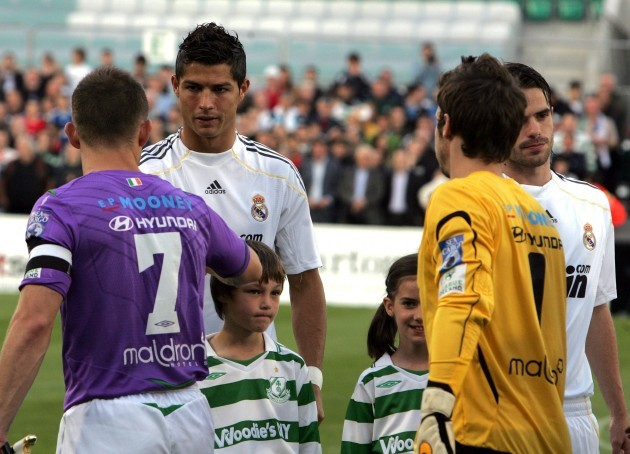 Cristiano Ronaldo meets rovers players before the game