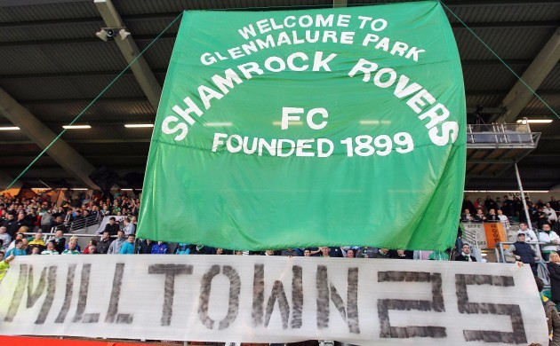 Rovers fans commemerate the 25th anniversary of the last game at Glenmalure Park