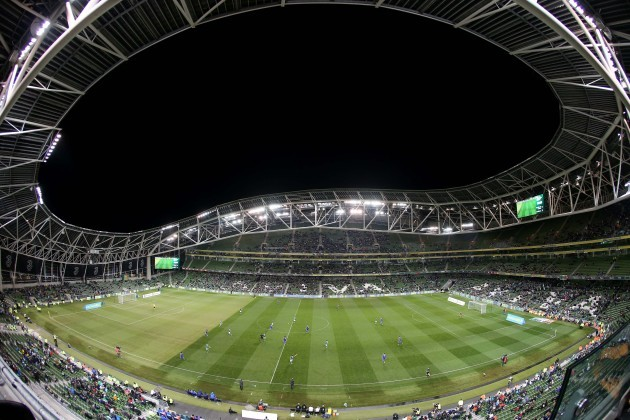 General view of empty seats in the Aviva Stadium during the match