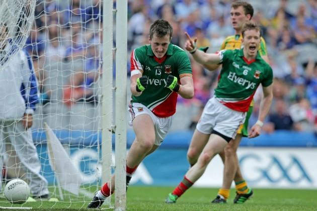 Cillian O'Connor celebrates scoring his second goal