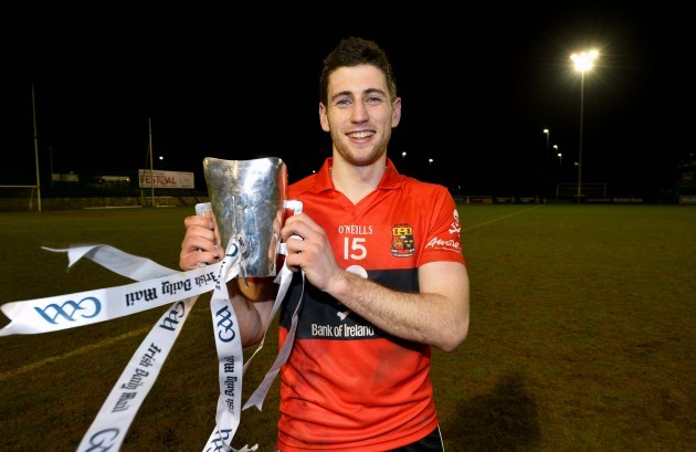 Paul Geaney celebrates winning with the Sigerson Cup