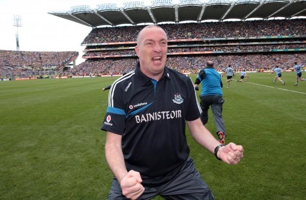 Pat Gilroy celebrates the final whistle