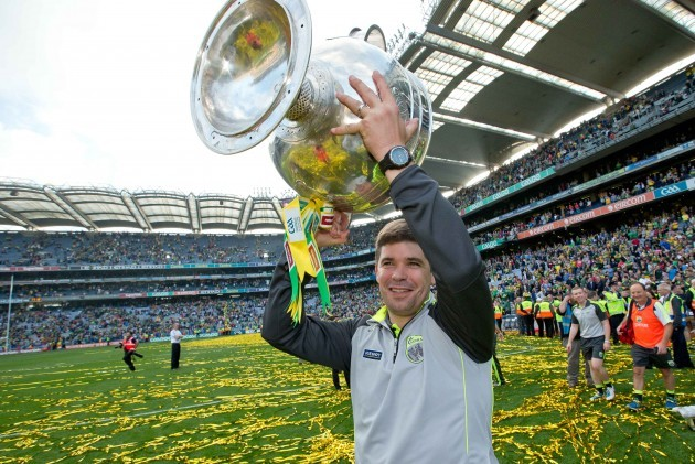 Eamonn Fitzmaurice celebrates with the Sam Maguire