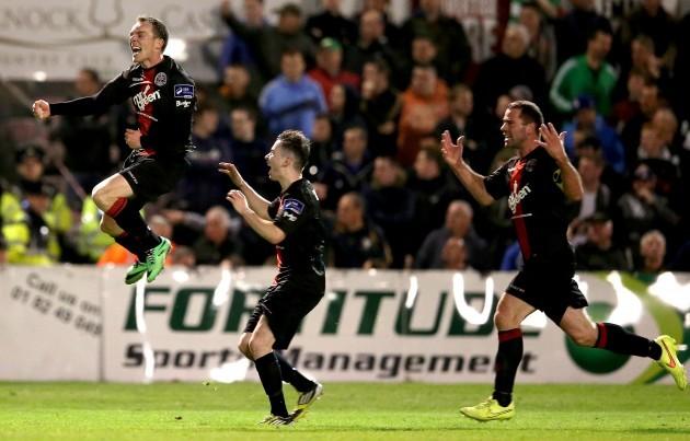Derek Pender celebrates his goal with team mates