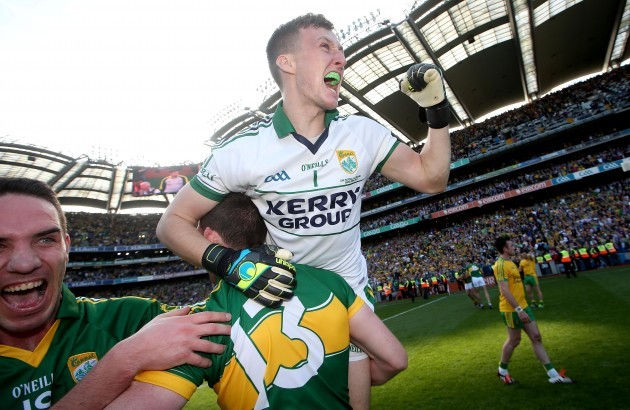 Declan O'Sullivan, Paul Geaney and Brian Kelly celebrate