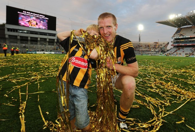 Henry Shefflin with his son Henry celebrate after the final whistle