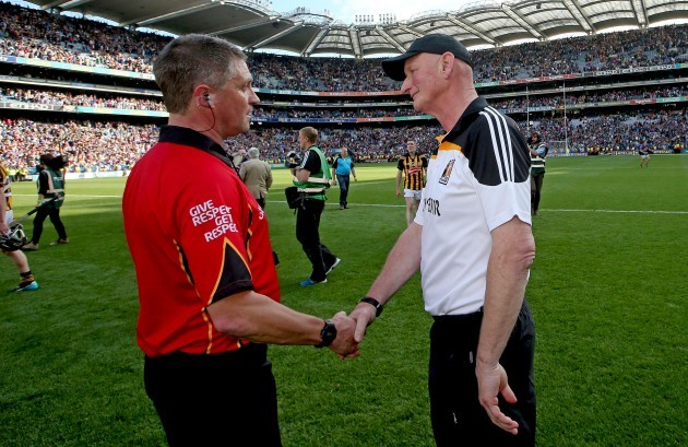 Barry Kelly and manager Brian Cody after the game