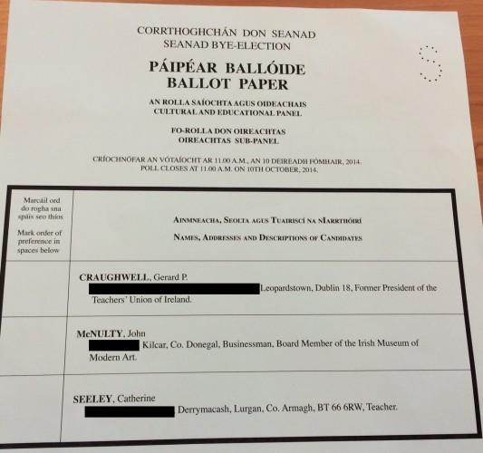 seanad ballot paper