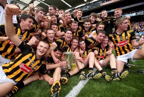 The Kilkenny team celebrates winning