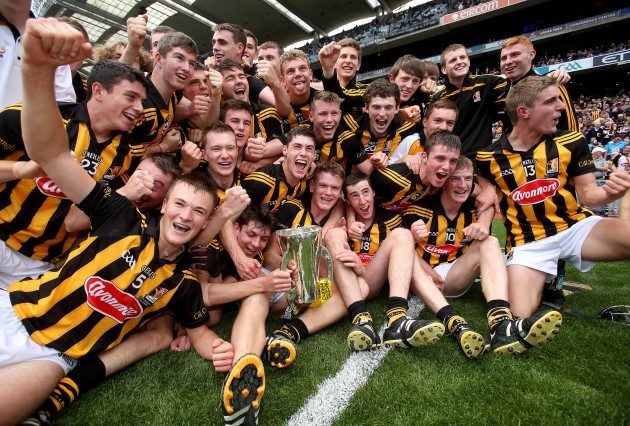 The Kilkenny team celebrates winning