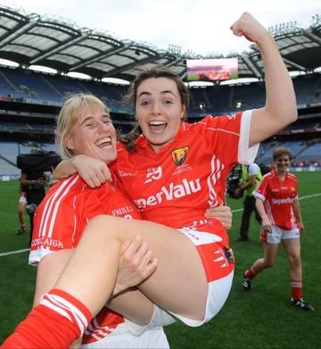 Emma Farmer and Jessica O'Shea celebrate winning
