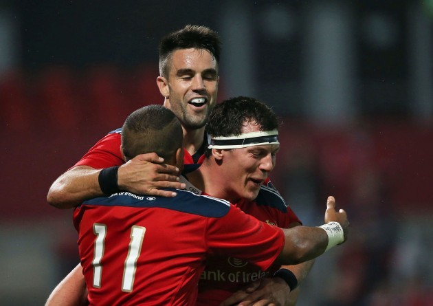Simon Zebo celebrates his third try with Conor Murray and Robin Copeland