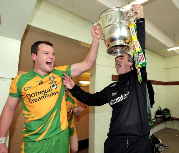 Michael Murphy and Jim McGuinness celebrate with the Anglo Celt