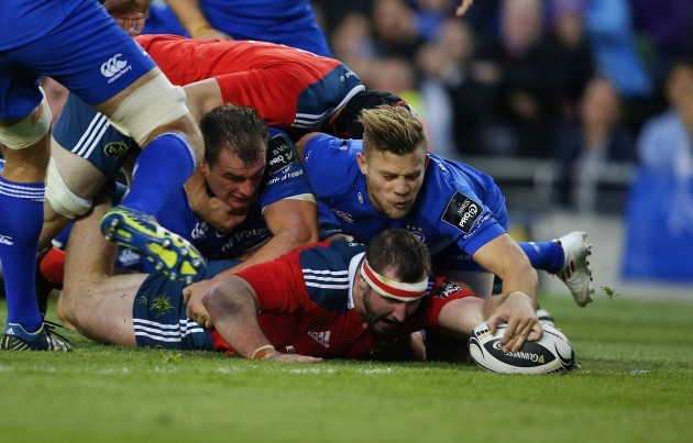 James Cronin scores a try despite Rhys Ruddock and Ian Madigan
