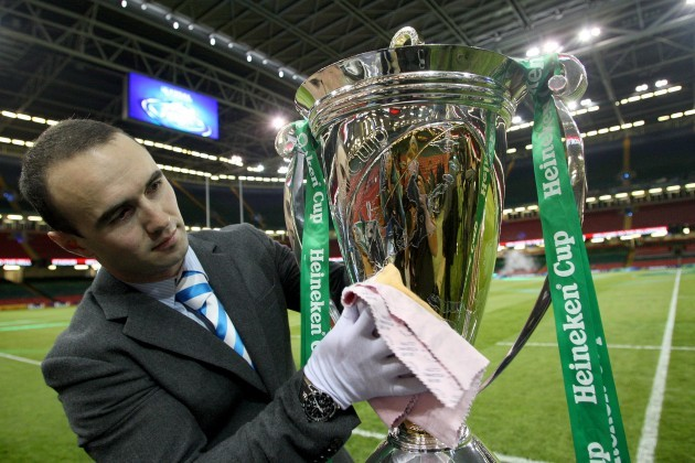 Max Rantz Mc Donald polishes the Heineken Cup before the game