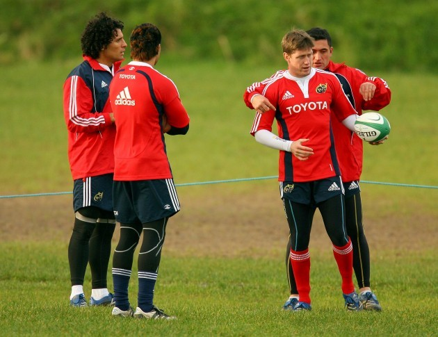 Doug Howlett with Ronan O'Gara and Rua Tipoki