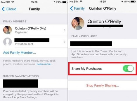 Family sharing purchases