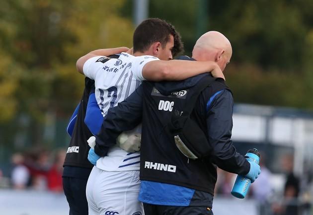 LeinsterÕs Noel Reid leaves the field injured