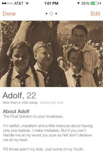 Some guy joined Tinder as Hitler, and women wanted to talk