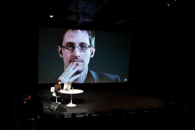 Edward Snowden talks with Jane Mayer via satellite at the 15th Annual New Yorker Festival