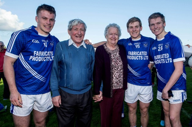 Sean Collins, Padraic Collins and David Collins celebrate with their grandparents Cyril and Annette Collins