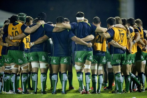 The Connacht team huddle before the game