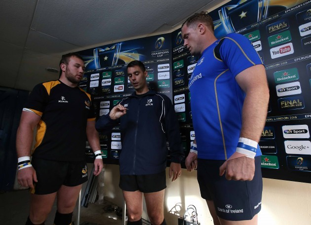 Matt Mullan and Jamie Heaslip with Leighton Hodges at the coin toss