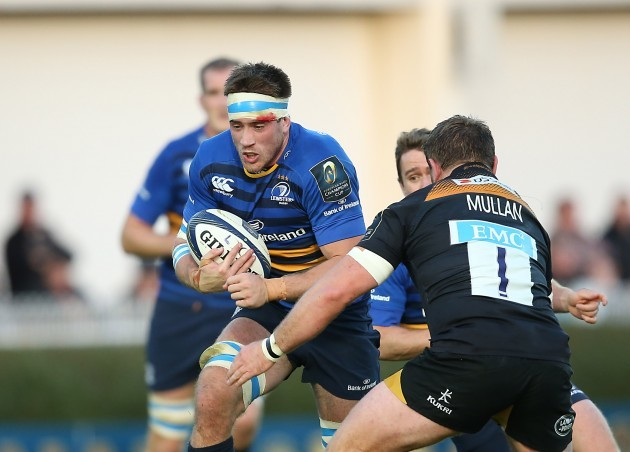 LeinsterÕs Dominic Ryan is tackled by Wasps Matt Mullan