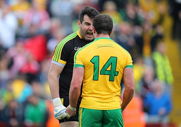 Paul Durcan and Michael Murphy celebrate