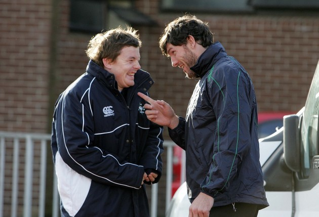 Brian O'Driscoll shares a joke with Shane Horgan