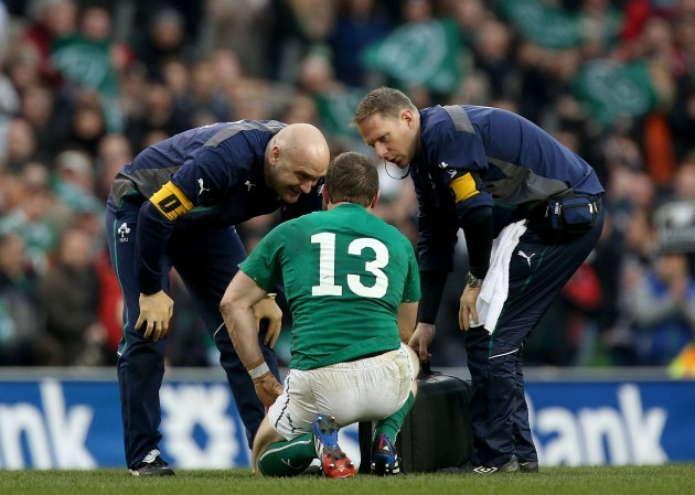 Brian O'Driscoll is given treatment