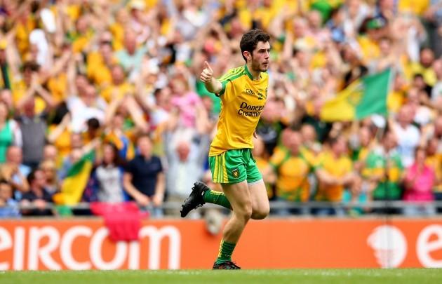 Ryan McHugh celebrates after scoring his side's first goal