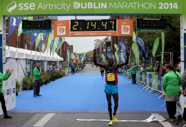 Eliud Too crosses the line to win the Dublin Marathon