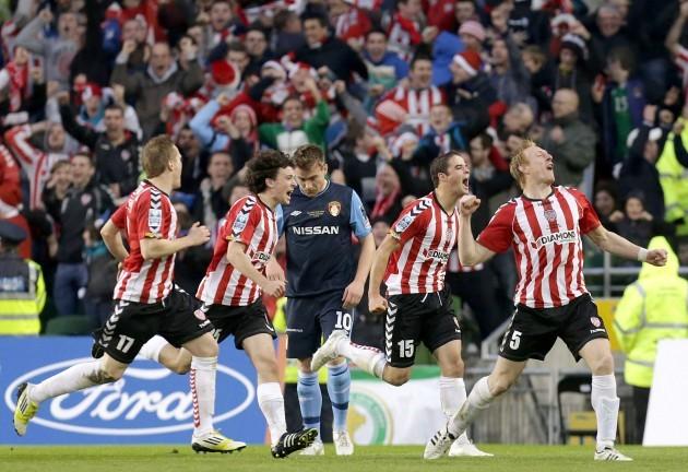 Stewart Greacen celebrates scoring a goal with teammates