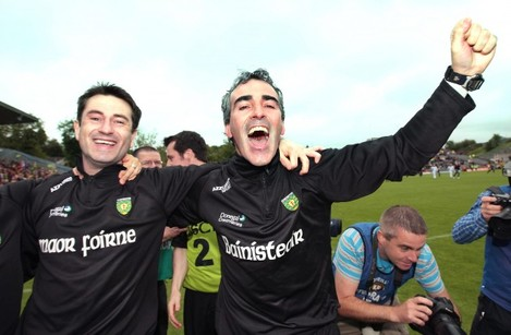 Jim McGuinness celebrates with assistant manager Rory Gallagher
