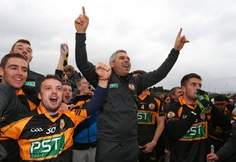 Stephen Stack celebrates after the game