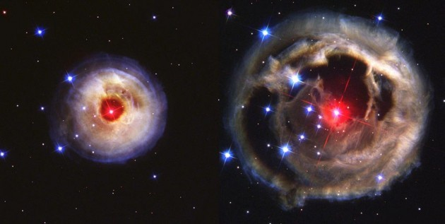 these-are-two-hubble-images-of-the-same-object-the-left-image-was-taken-on-may-20-2002-while-the-right-image-was-taken-over-6-months-later-on-december-17-in-january-2002-astronomers-observed-a-bright-light-pulse--