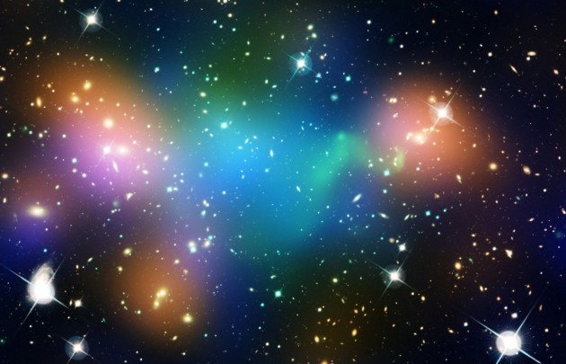 we-cant-see-dark-matter-but-we-know-its-there-thanks-to-hubble-the-is-a-real-hubble-image-of-a-galaxy-cluster-with-false-coloring-superimposed-on-top-the-false-blue-indicates-where-most-of-the-clusters-mass-is-loc