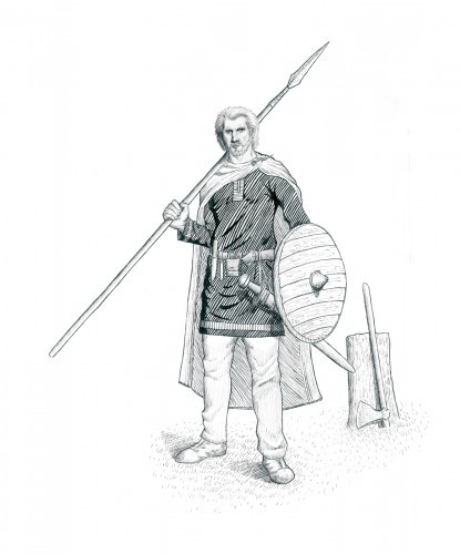 Artists reconstruction of the Woodstown Warrior by JG O'Donoghue