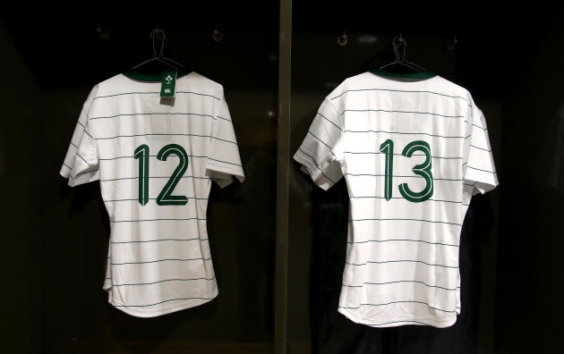 General view of Robbie Henshaw's and Jared Payne's jerseys in the changing room