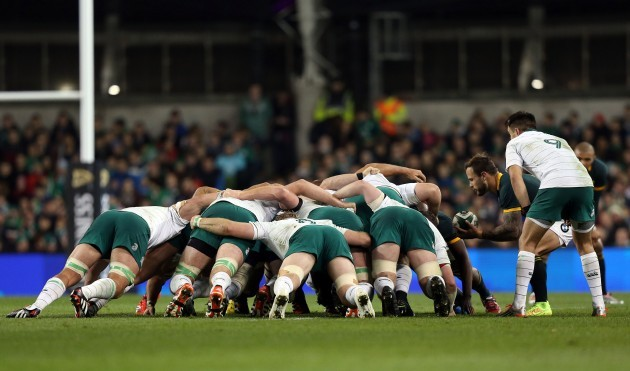 General view of a scrum as Francois Hougaard puts the ball in
